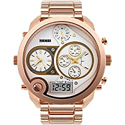 Three dial watch 30 meters waterproof men's watch the Japanese electronic movement wristwatch(Rose Gold)