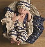 Baby Fotos Häkelkostüm Strick Newborn Fotoshooting Häkel Mütze Hose Blau Beige BK072