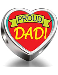 Proud Dad Heart Photo Charm Beads Fit Pandora Chamilia Biagi beads Charms Bracelet