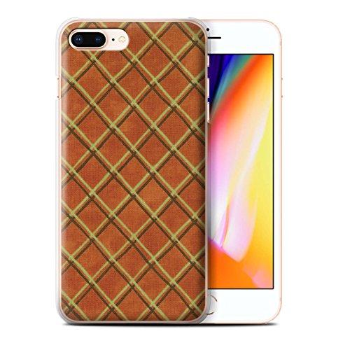 Stuff4 Hülle / Case für Apple iPhone 8 Plus / Blau/lila Muster / Kreuz Muster Kollektion Orange