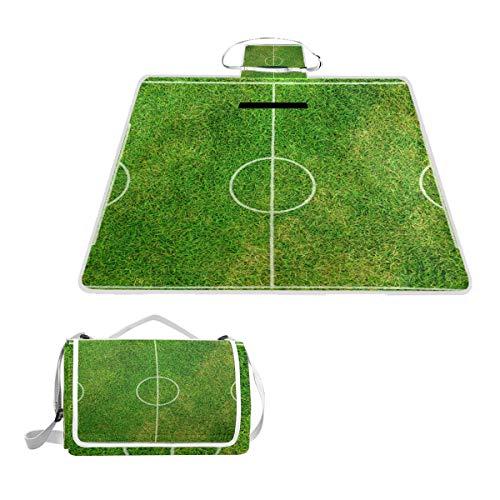 Bennigiry Fußball-Platz große Wasserdichte Picknick-Decke, Camping-Tasche, tragbare Familiengröße, handliche Matte für Outdoor-Reisen, 144,8 x 149,9 cm