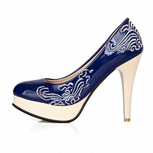MissSaSa Femmes Escarpins Talons Aiguille Décoration des Fleurs Bleu
