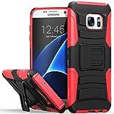 Galaxy S7 Edge coque, Fosmon [STURDY] Premium lourd devoir hybride double couche résistant aux choc Housse avec béquille et étui de revolver pour Samsung Galaxy S7 Edge (Noir / Rouge)