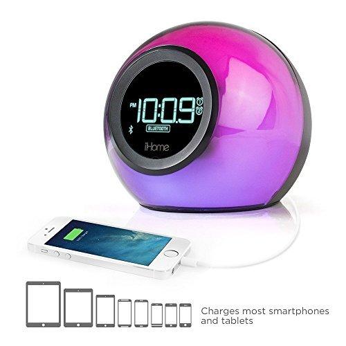 iHome iBT29 Wecker mit Bluetooth, FM-Radio und Farbwechseler schwarz (Radiowecker Ihome)