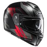 HJC Casque Moto RPHA 90 Tanisk MC1SF, Noir/Rouge, Taille XL