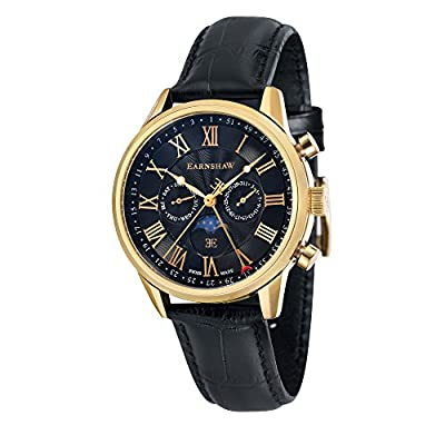 Thomas Earnhshaw Men's Officer Quartz Watch with Black Dial Moon Phase Display and Black Leather Strap ES-0017-05