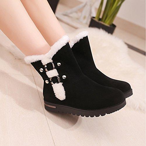 HSXZ Scarpe donna pu Winter Snow Boots stivali Flat Round Toe per Nero Casual Black