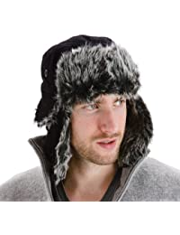 Men's Black Extra Warm Trapper Hat With Faux Fur Lining Ear Flaps And Chin Strap