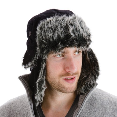 1feedfe9 Men's Black Extra Warm Trapper Hat With Faux Fur Lining Ear Flaps And Chin  Strap