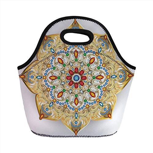 Jieaiuoo Portable Lunch Bag,Gold Mandala,Brooch Inspired Design Mandala Geometric Vintage Lively Figure Digital Print Decorative,Multicolor,for Kids Adult Thermal Insulated Tote Bags (Brooch Bug)