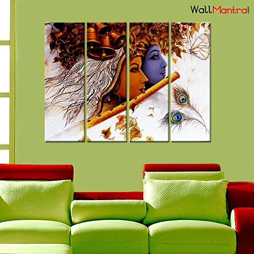 WallMantra Radha Krishna Romantic Wall Painting /4 Pieces Canvas Print Wall Hanging/Stretched and Framed on Wood/35 W x 24 H/Home Decor for Living Room, Bedroom, Office Decoration