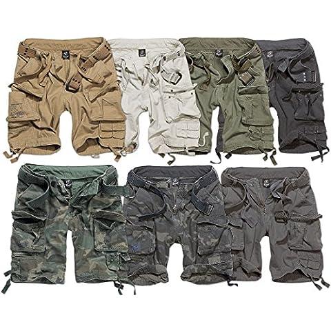 DELUXE BRANDIT CARGO pantaloncini VINTAGE da uomo stile militare con per cintura rimovibile (oliva, 2XLarge