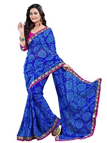 Nirjas Designer Women's Georgette Printed Saree with Blouse Piece - Fba Poonam...