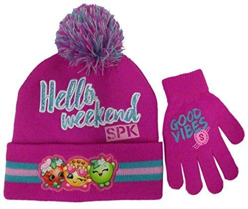 Shopkins Girls Beanie Winter Hat and Glove Set - Size Girls 4-14 [4014]