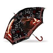 Ombrello lungo automatico Star Wars per bambini COMPOSIZIONE 8 stecche antivento manico in plastica apertura automatica con sicurezza bambini colore principale nero materiale impermeabile MISURE altezza 48cm diametro 84cm