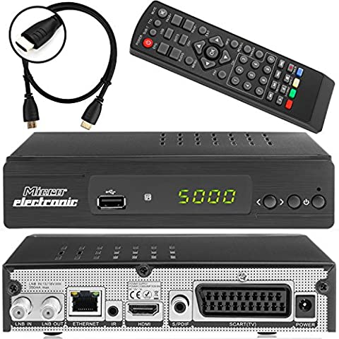 Micro Electronics m380 Plus Full HDTV digitaler Satelliten-Receiver inkl. HDMI Kabel (HDTV, DVB-S2, HDMI, SCART, LAN, USB 2.0, Full HD 1080p) [vorprogrammiert] -