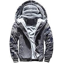 Yesmile ⭐ Abrigo de Invierno para Hombre Suéter con Cremallera con Capucha Chaqueta de algodón Ropa