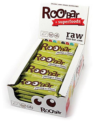 ROO'BAR Hanfprotein & Chia - 20 Stück (20x 30g) - Rohkost-Riegel mit Superfoods (bio, vegan, glutenfrei, roh) (Bio-health-bars)