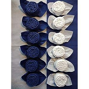 Servietten Rosen in blau und weiß, 12 er Set, tischfertig gefaltet, zum Geburtstag, Hochzeit, Party als nettes Geschenk oder einfach als kleine Aufmerksamkeit