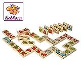 Eichhorn 100072282 - Holz Tierdomino, Domino mit bunten Tiermotiven, 28-tlg. FSC 100% Zertifiziertes Buchenholz, Made in Germany