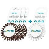 Original Papanga Spiral Haargummi, 3+1 Vorteils-Pack, Classic Edition, Größe: Small, Farben: 3 x Chocolate + 1 x Diamond
