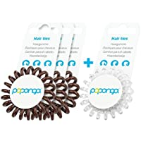 Original Papanga® Elastici per capelli a spirale, 3 + 1 bonus pack, Classic Edition, taglia: Small, colore: 3 x Chocolate + 1 x Diamond