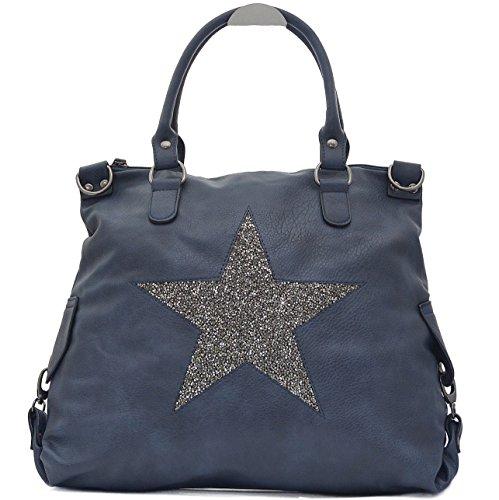 Vain Secrets Sternen Shopper Damen Handtasche mit Schulterriemen (Blue PU Strass)