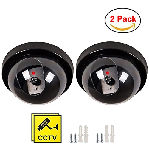 Maxesla Kamera Attrappe 2PCS Kamera Dummy Fake Überwachungskamera Attrappe Dome Täuschend Echt Indoor Outdoor Fake Sicherheitskamera mit LED Licht Überwachung Haus Sicherheit Security Axis-cctv-kameras