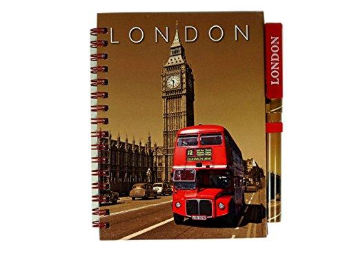 Classic Big Ben Uhr und Routemaster London Doppeldecker Bus Notebook und passendem Stift. Sepia London GB UK Note Book Notizblock Notizblock Note Pad. Souvenir/Speicher/MEMORIA. Modisch, Cool British Souvenir. Eine einzigartige und unvergessliche Geschenk. Carnet/Notizbuch/Taccuino/cuaderno. (Flag-tag-buch)