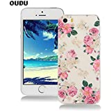 OuDu Cover iPhone 5/5S Custodia TPU Silicone Cassa Gomma Soft Silicone Case Bumper Custodia Morbida Cover Ultra Sottile Leggero Custodia Flessibile Liscio Caso Anti Graffio Anti Scossa Anti Scivolo - Fiore Rosa