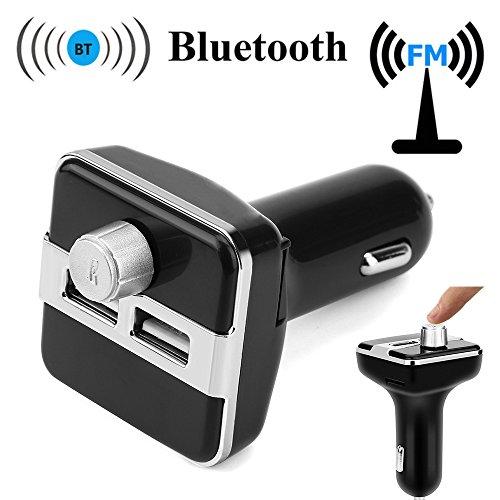 BOOMING Bluetooth FM-Transmitter, kabelloser Autoradio-Musik-Streaming-Adapter mit Zwei USB-Ladegeräten und LCD-Display, Freisprechfunktion, USB-Treiber, TF-Reader, AUX-Eingang oder Ausgang (Silber)