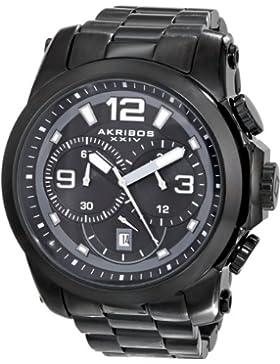 Akribos XXIV Herren der grandiosen Chronograph Schwarz Edelstahl Armband Armbanduhr
