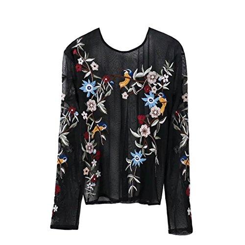 Romacci Damen Bluse Blumenstickerei Langarm Shirt Transparente Mesh Top Schwarz/Pink Schwarz