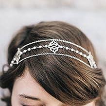 Diadema con perlas de aleación de jovono cabeza cadena para las mujeres HC01 ef4184266d5b