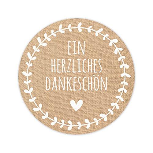100 runde Aufkleber in Jute-Optik Ein Herzliches Dankeschön mit kleinem Herz und Ranke - 5cm Durchmesser - braun/weiß - top Qualität aus Deutschland