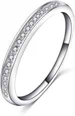 Jewels Galaxy Valentine Collection Platinum Plated Simple Style Tiny CZ Inlayed Ring for Women/Girls