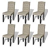 Set de 6 Sillas de comedor antiguo de color Beige Cabeza de arco