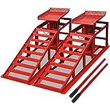 vidaXL Rampas de material acero para reparación de vehículos pack 2 unidades color rojo