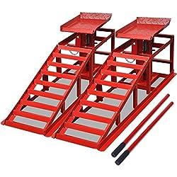 vidaXL 2 x PKW Auffahrrampe Rot Stahl