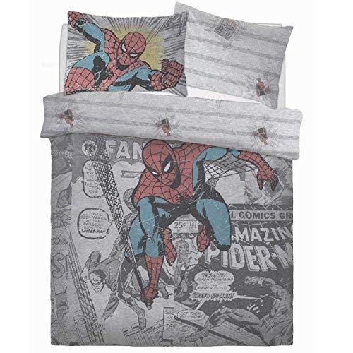 Marvel Comics Spiderman Comic gruppo dei cartoni animati grigio pannello set letto copripiumino reversibile federe, Doppio