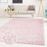 Shaggy-Teppich, Flauschiger Hochflor Wohn-Teppich, Einfarbig/Uni in Lila für Wohnzimmer, Schlafzimmmer, Kinderzimmer, Esszimmer, Größe: 200 x 200 cm Rund