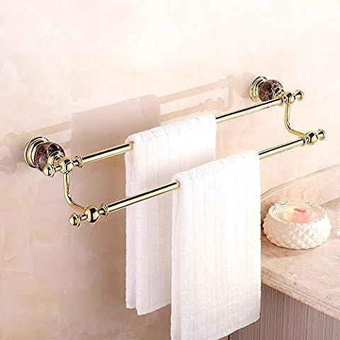 KHSKXCreative accesorios de baño toallero de bronce dorado de jade mármol europeo Toallero toallero doble