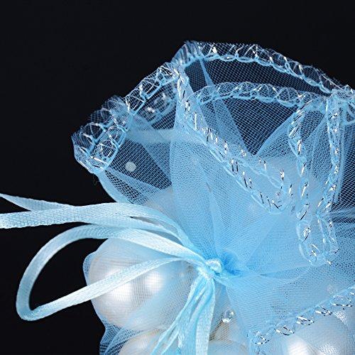 f9b577401566 26cm) 100 pz Sacchetti Tulle Veli Organza con Nastrino Bomboniere  Portaconfetti come Segnaposto per Matrimonio Nascita Battesimo Compleanno  Confezione ...