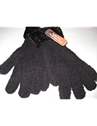 NEW WOMENS LADIES SOFT FEATHER TOUCH CUFFED GLOVES CHENILLE FLUFFY MAGIC GLOVES