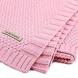 Baby Kinder Woll Decke Babydecke Häkeldecke Geschenk zur Geburt Rosa Braun Blau (Rosa)
