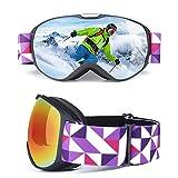 Ski Goggles Kids - Ski Snowboard Brille OTG Ski Goggle Sport - Anti-Fog UV Dual Lens für Männer und Frauen für Motorrad Fahrrad Snowmobile - Kann Myopie Professional Ski Snowboard Goggles Karte