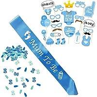 Babyparty Junge / Baby Shower Junge / Babyparty Deko / Baby Party Dekoration, Neugeborene Fotorequisiten Masken, Mum To Be Blau Schärpe und Konfetti.