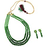Fashionvalley Green Crystal Beads 3 Row Necklace for Girls/Women