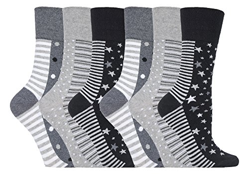 NEW: 6 Pairs Ladies Gentle Grip No Elastic Socks 4-8 uk, 37-42 eur (GG99 Mono Spot/Stripe)
