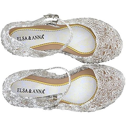 UK1stChoice-Zone ELSA & ANNA® Última Diseño Buena Calidad Niñas Princesa Reina de Nieve Jalea Partido Zapatos Zapatos de Fiesta sandalias (Blanco, EUR-28 (Plantilla: